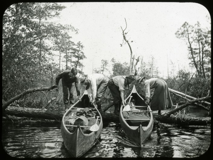Canoeing on the Mullica River. May 18, 1906. From the Library Company's Marriott C. Morris Photograph Collection.