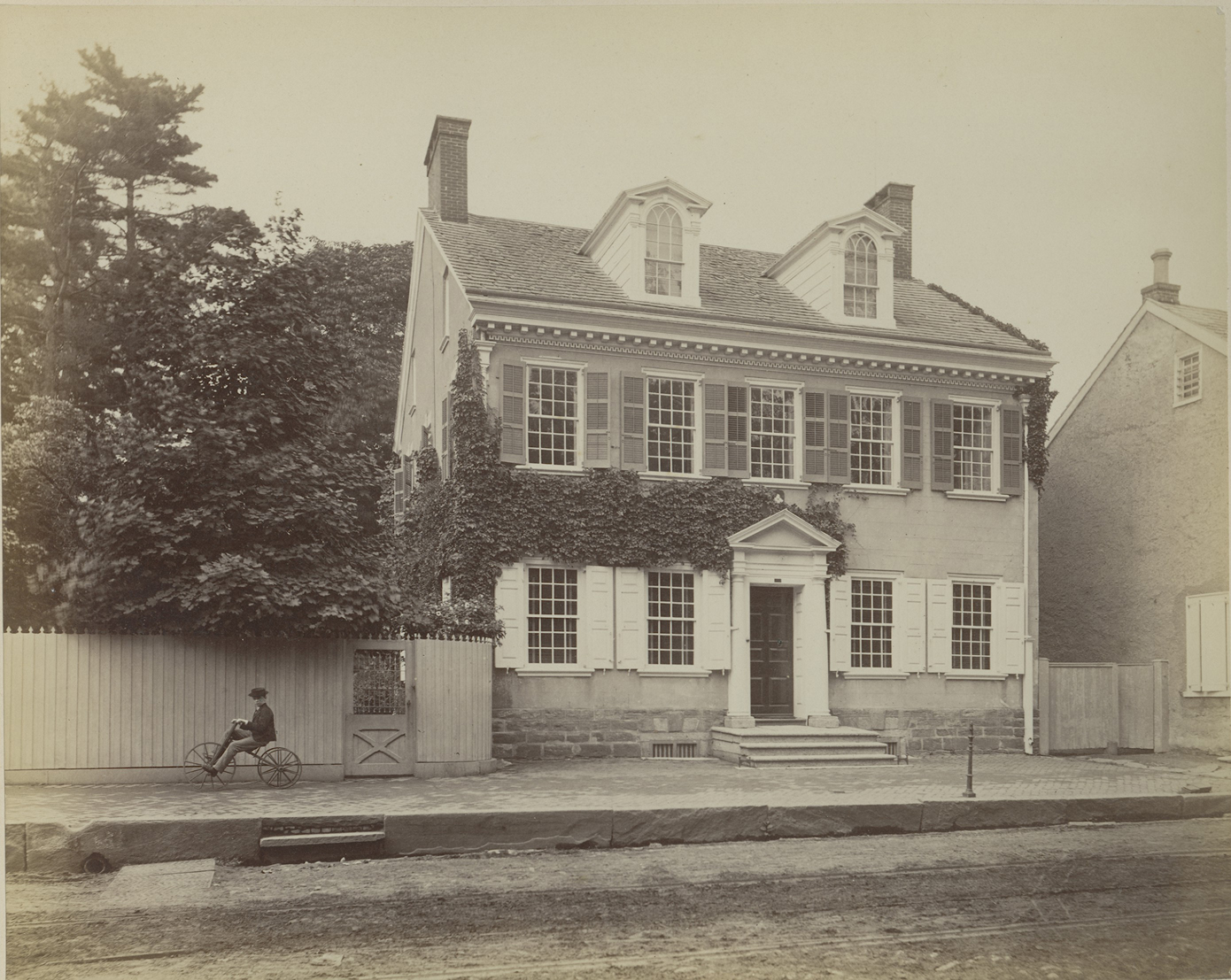 """Morris House on Germantown Avenue, June 1886"" (print by Marriott Canby Morris, 1893). Morris Family Papers, Photo Box 8, Folder 2. Collections of Independence National Historical Park."