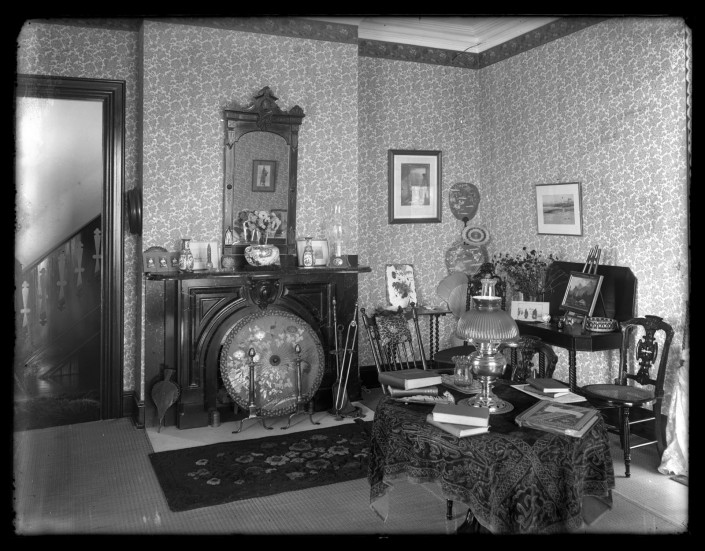 Marriott C. Morris, [View of Victorian decorated parlor, possibly Avocado at Sea Girt], ca. 1900.